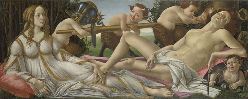 Sandro Botticelli, about 1445 - 1510 Venus and Mars about 1485 Tempera and oil on poplar, 69.2 x 173.4 cm Bought, 1874 NG915 https://www.nationalgallery.org.uk/paintings/NG915